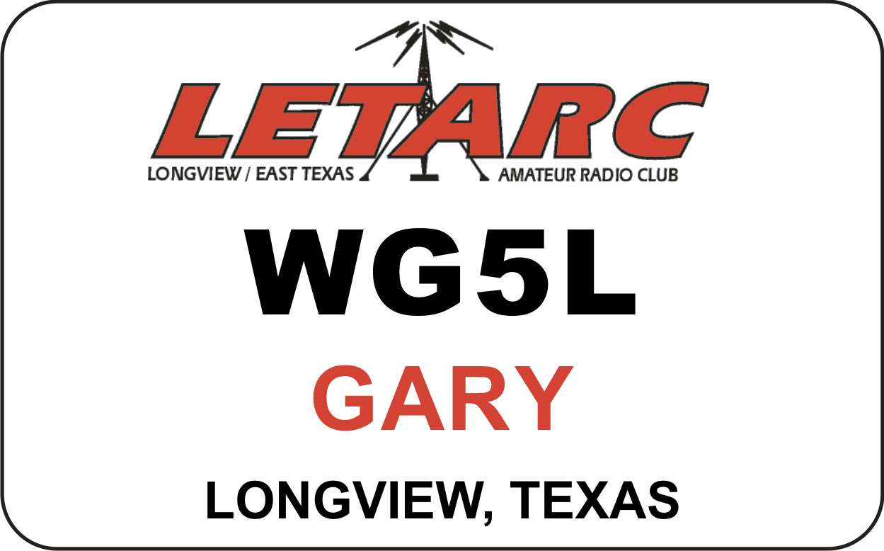Longview / East Texas ARC Name Badge